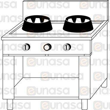 2 Burner Chinese Drain Gas Range W/CABINET