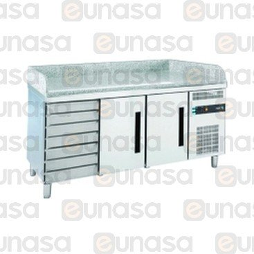 2-DOOR Granite Refrigerated Table For Pizzas