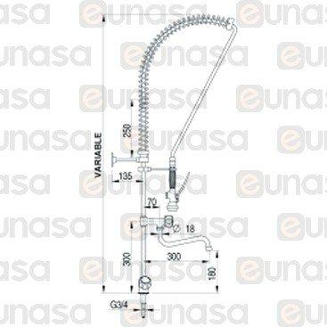 Deck Mount H/C Water PRE-RINSE Unit W/FAUCET