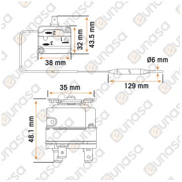 Thermostat +19/+90ºC Capillary 1000mm