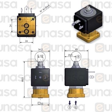3 Ways Solenoid Valve 230V Ruby