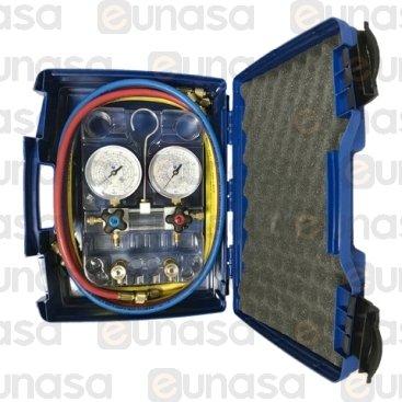 Kit Manómetro 4 Vías Visor Ø80 R-32/R-410-A