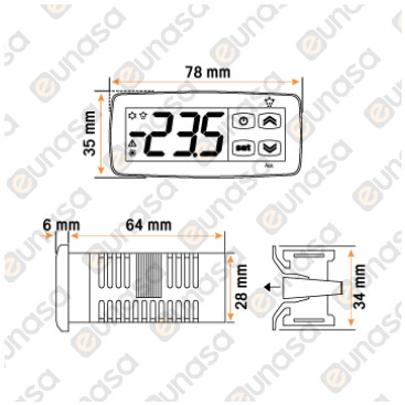 Termostato Digital F10 230V 1 Relé 78x35mm