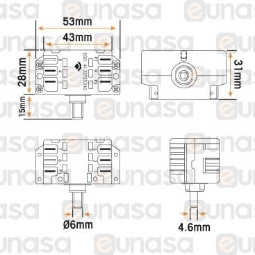 Conmutador 2 Polos 7 Posiciones L EJE:10mm