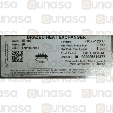Intercambiador 20 Placas -10/120ºC Vuw