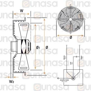 Ventilador Ø350mm 134W 230V 50/60HZ