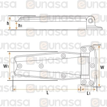 Bisagra HU-172 Cromo Horizontal 223mm