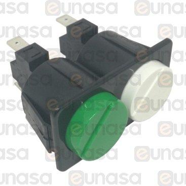 Pulsador Doble BLANCO/VERDE 230V 16A 28x54mm