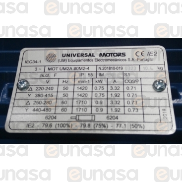 Motore Trifase 1CV 1500 Giri / Min B3 220 / 3