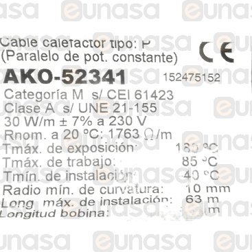 Cable Calefactor 30W/m SILICONA+TR AKO-52341
