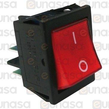 Interruptor 30x22mm Rojo 230V Bipolar