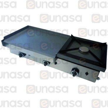 FERRO A GAS LISCIO 600x400mm + FOGÓN 400x400mm