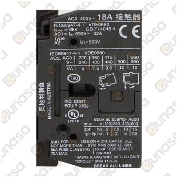Contactor 230V 32A 3NO/1NO A3 400V 7.5kW 18A