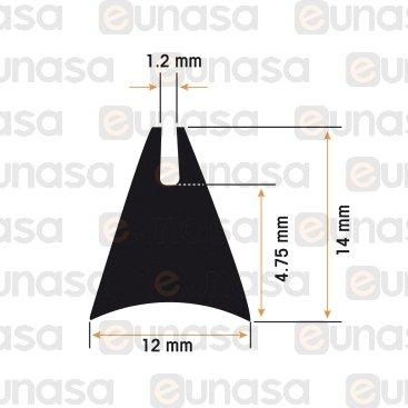 Window Gasket Oven 12x14mm GF5GM (1 metre)
