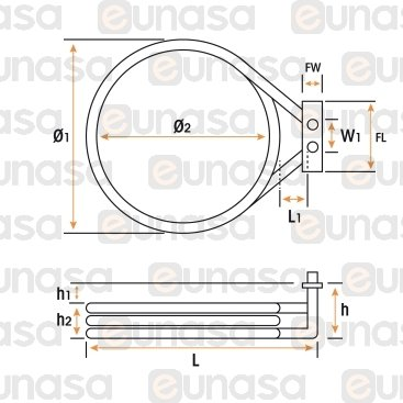 Oven Heating Element Ø195mm 2700W 230V