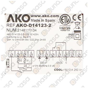 Termostato Digital 1 Relé 230V Ac D14123-2