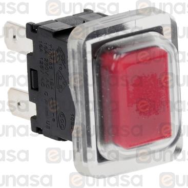 Pulsador Rojo Unipolar 20x13mm 230V 16A