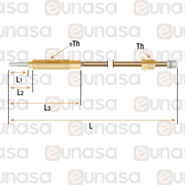 M8x1 Threaded Thermocouple L=450mm