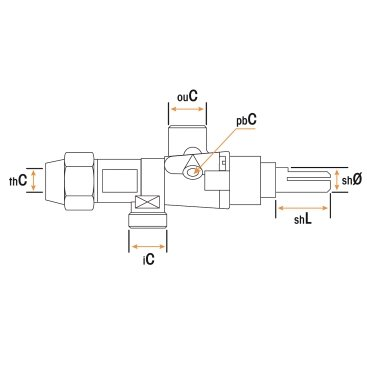Grifo Gas PEL21S Eje Ø8x6.5mm L=22mm